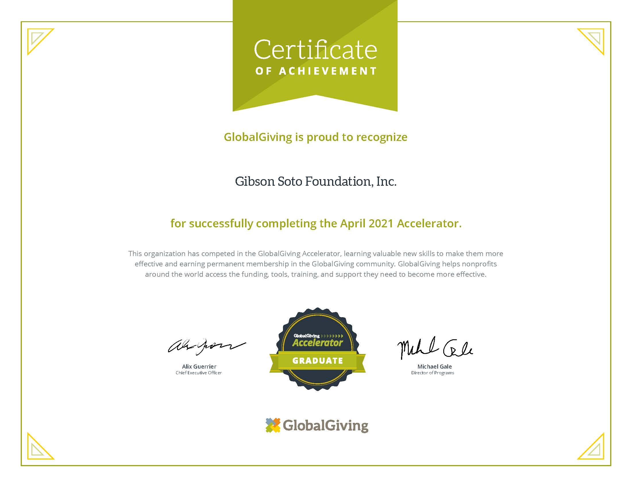 Gibson Soto Foundation is now recognized as partners of #GlobalGiving!